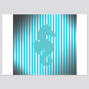 Seahorse on Aged Teal Stripes Invitations