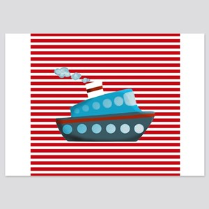 Nautical Cruise Ship on Red White Invitations