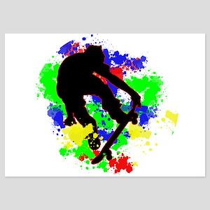 Graffiti Paint Splotches Skateboarder Invitations