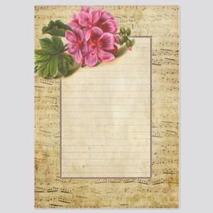 Lined Music Paper with Flower Invitations