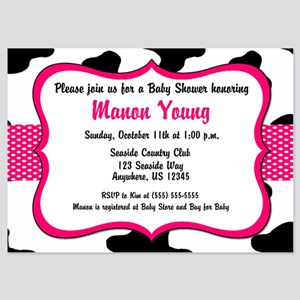 Cow Print Pink Baby Shower Invite 5x7 Flat Cards