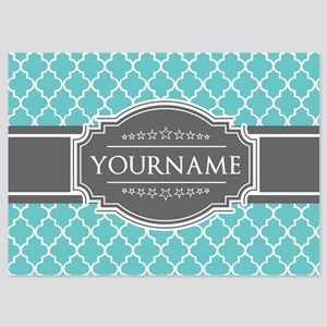 Turquoise and Gray Moroccan Quatref 5x7 Flat Cards