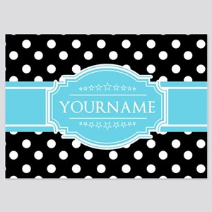 Black and White Dots Aqua Personali 5x7 Flat Cards