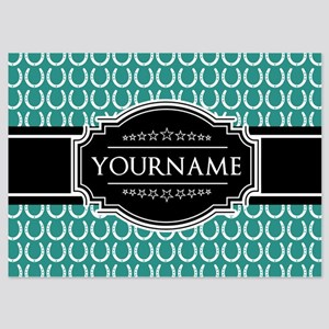 Teal and Black Horseshoe Personaliz 5x7 Flat Cards
