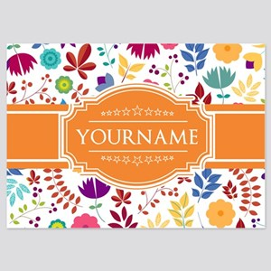 Personalized Name Monogram Floral 5x7 Flat Cards