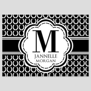 Black and White Custom Monogram 5x7 Flat Cards