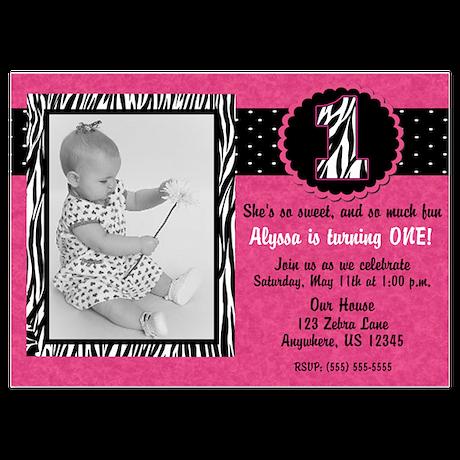 1st Birthday Pink Zebra Invitation Invitations by  CupcakesandSprinklesBirthdayTees 23388d816