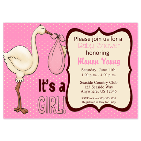 Pink stork baby shower invitations by hotmommatees pink stork baby shower 5x7 flat cards filmwisefo