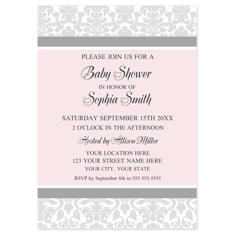 Pink Grey Damask Baby Shower Invites 5x7 Flat Card