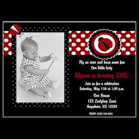Ladybug Girls Birthday Invitation 5x7 Flat Cards