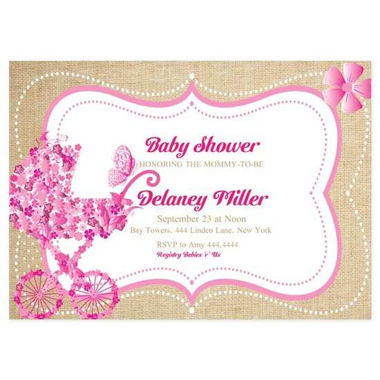 Rustic Floral Pram Baby Shower Invitations