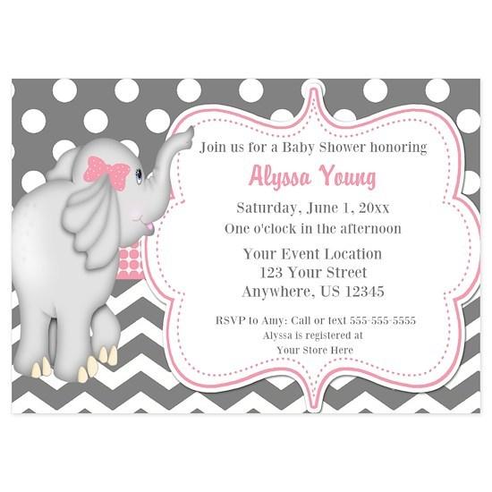 Gray Pink Elephant Baby Shower Invite 5x7 Flat Cards Gray Pink Elephant Baby Shower Invite Invitations By Designsbymanon Cafepress