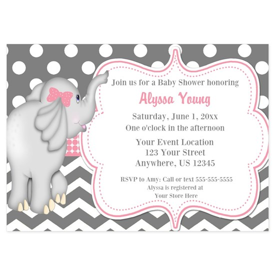 Gray Pink Elephant Baby Shower Invite