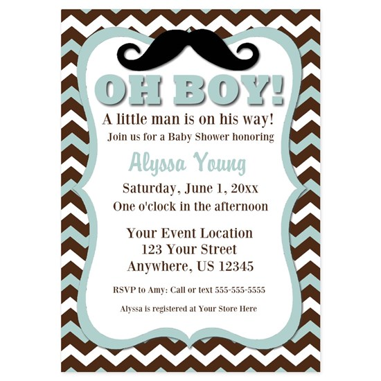 Blue Chevron Mustache Baby Shower