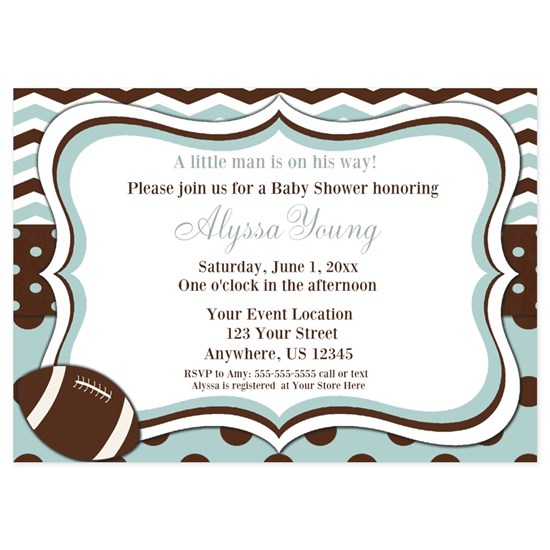 Blue Brown Football Baby Shower Invite