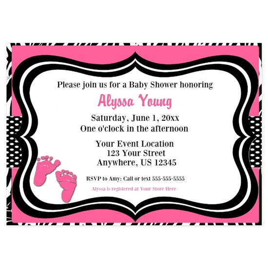 Pink Zebra Baby Feet Shower Invite