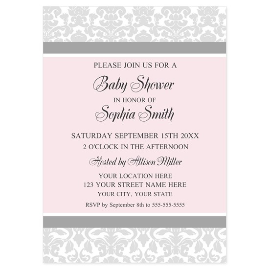 Pink Grey Baby Shower Invitation