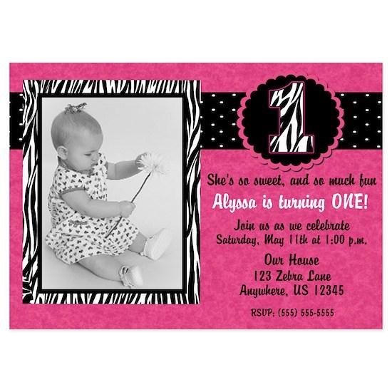 1st Birthday Pink Zebra Girls Invitation