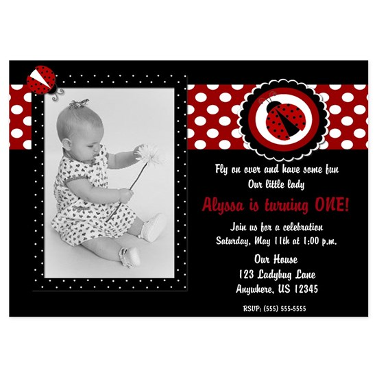 Ladybug Girls Birthday Invitation