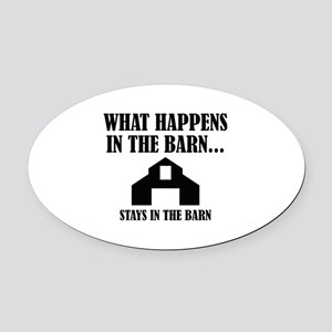 What Happens In The Barn Oval Car Magnet