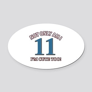 11 year old birthday designs Oval Car Magnet