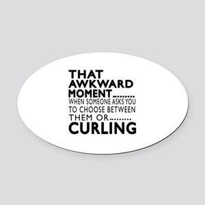 Curling Awkward Moment Designs Oval Car Magnet
