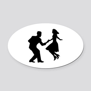 Swing dancing Oval Car Magnet