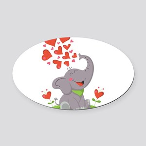 Elephant with Hearts Oval Car Magnet