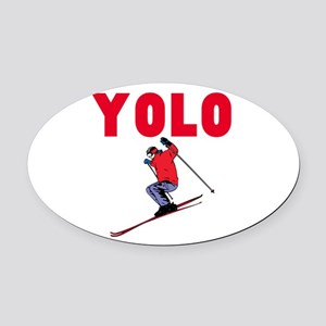 Yolo Skiing Oval Car Magnet