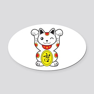Maneki neko Lucky Cat Oval Car Magnet