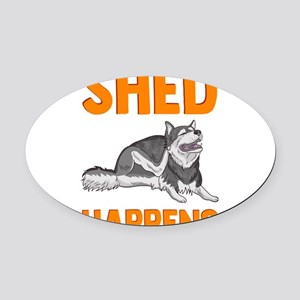 Cute & Funny Shed Happens Sibe Oval Car Magnet