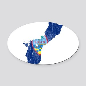 Guam Flag And Map Oval Car Magnet