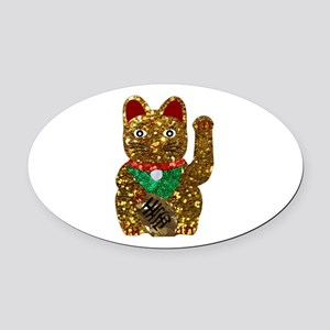 maneki neko cat Oval Car Magnet