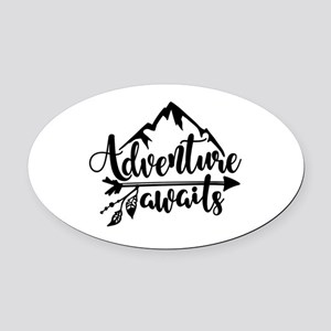 Adventure Awaits Oval Car Magnet