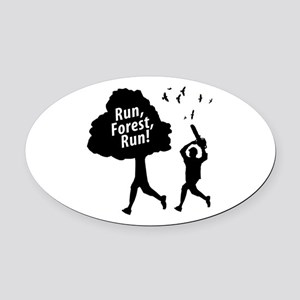 run forest run new  Oval Car Magnet