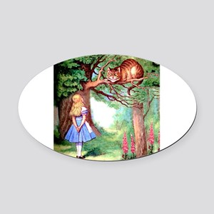 Alice and the Cheshire Cat Oval Car Magnet