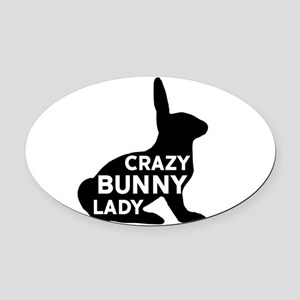 Crazy Bunny Lady Oval Car Magnet