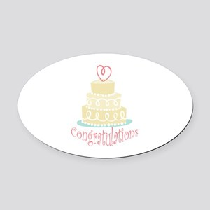 Congratulations Cake Oval Car Magnet