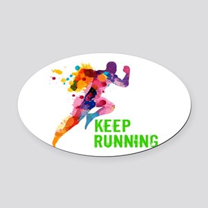 Keep Running Oval Car Magnet