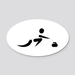 Curling player icon Oval Car Magnet