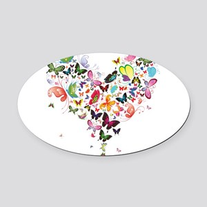 Heart of Butterflies Oval Car Magnet