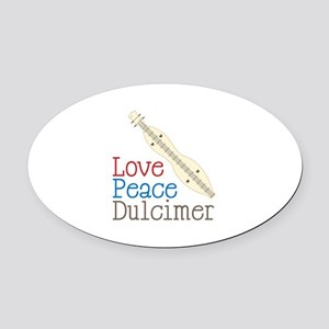 Love Peace Dulcimer Oval Car Magnet