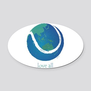 love all world tennis Oval Car Magnet