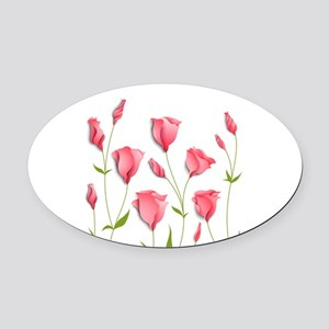 Pretty Flowers Oval Car Magnet