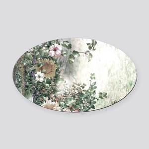 Flowers Painting Oval Car Magnet
