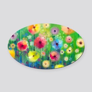 Watercolor Flowers Oval Car Magnet