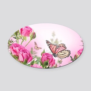 Butterfly Flowers Oval Car Magnet