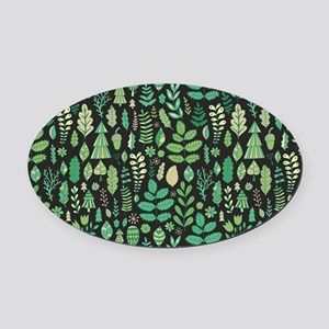 Forest Pattern Oval Car Magnet