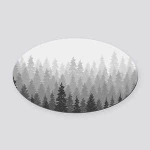Gray Forest Oval Car Magnet