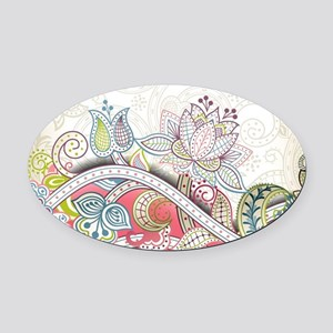 Abstract Floral Oval Car Magnet